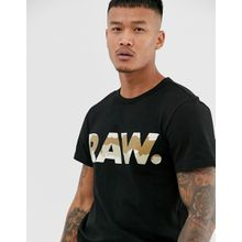 G-Star Raw - Schwarzes T-Shirt aus Bio-Baumwolle mit großem Logo und Military-Muster - Schwarz
