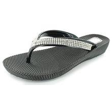Damen Pantoletten Sandalen Flip-Flops, Sommer, Strand, mit Keil, bequem, schwarz - schwarz - Größe: 36.5