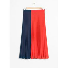 Colour Block Pleat Skirt - Orange