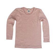 Cosilana, Kinder Unterhemd langarm, 45% kbA Baumwolle, 35% kbT Wolle, 20% Seide (140, Pink meliert)