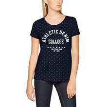 TOM TAILOR Denim Damen T-Shirt Loose Fit Tee w. Minimal Print, Blau (Real Navy Blue 6593), 40 (Herstellergröße: L)