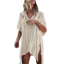 Damen Strandkleid Gestrickte Bikini Cover Up Lose Boho Sommer Badeanzug Sommerkleid- One Size