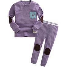 Vaenait Baby Kinder Maedchen Nachtwaesche Schlafanzug-Top Bottom 2 Stueck Set Simple Pocket Purple L