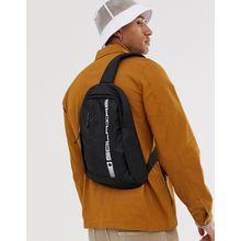 """ASOS DESIGN – Schwarzer Rucksack mit einem Träger zum Umhängen mit weißem """"Solaire""""-Print"""