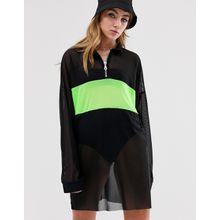 The Ragged Priest - T-Shirt-Kleid aus transparentem Netzstoff mit Neon-Bahn - Schwarz