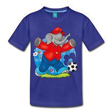 Spreadshirt Benjamin Blümchen Fußballer Kinder Premium T-Shirt, 98/104 (2 Jahre), Königsblau