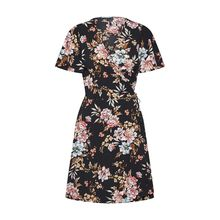 VERO MODA Kleid VMSASHA S/S SHORT WRAP DRESS EXP Kleider schwarz Damen