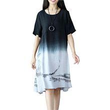 OKSakady Damen Einfarbig Baumwolle und Leinen Kurzarm Lange Tunika Kleid