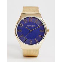Steve Madden - Herrenuhr mit Mesh-Armband und blauem Zifferblatt - Gold