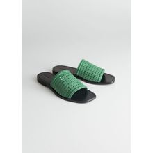Square Toe Woven Sandals - Green