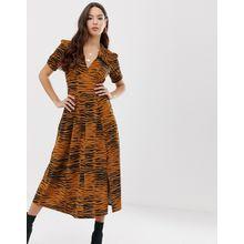 ASOS DESIGN - Mittellanges Nachmittagskleid mit Animal-Print - Mehrfarbig