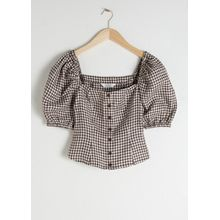 Linen Puff Sleeve Gingham Top - Beige