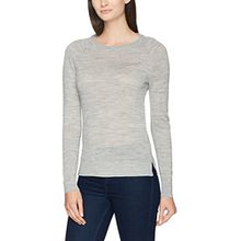 SELECTED FEMME Damen Pullover Sfcosta LS Knit Slit O-Neck Noos, Grau (Light Grey Melange Light Grey Melange), 36 (Herstellergröße:S)