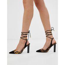 ASOS DESIGN - Pucker Up - Spitze High-Heels mit Beinschnürung und Leopardenmuster - Mehrfarbig