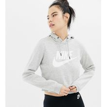 Nike - Rally - Kurz geschnitter, grauer Kapuzenpullover mit Logo - Grau