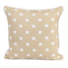 Homescapes dekorative Kissenhülle Stars, beige, 30 x 50 cm, Kissenbezug mit Reißverschluss aus 100% reiner Baumwolle