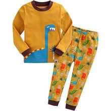 Vaenait Baby Kinder Jungen Nachtwaesche Schlafanzug-Top Bottom 2 Stueck Set Dino King-Camel XL