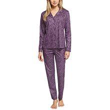 Schiesser Damen Zweiteiliger Schlafanzug Original Classics Pyjama Lang, Rot (Aubergine 511), 40 (Herstellergröße: 040)