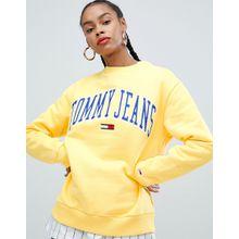 Tommy Jeans - Sweatshirt mit Logo im Collegestil - Gelb