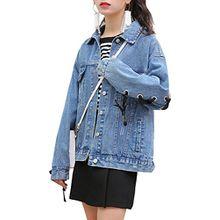 Choies Damen Jeansjacke Hinten Schnüre Langarm Knopfverschluss Basic Übergangsjacke Denim Jacket Blau L