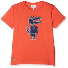 Lacoste Jungen T-Shirt TJ3855, Rot (Pasteque/Multico PY6), 5 Jahre (Hersteller Größe: 5A)