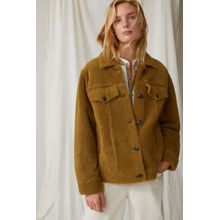 CLOSED Shearling Shirt Jacket fennel