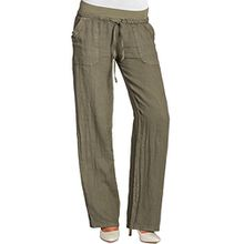 CASPAR KHS025 Damen Leinenhose, Farbe:oliv grün;Größe:40 L UK12 US10