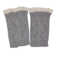 A&Z; Frauen Damen Winter Stricken Beinlinge Lace Trimmen Gestrickt Gehäkelt Spitzen Füßlinge Schneiden Buchse Beinstulpen Socken (Hellgrau)