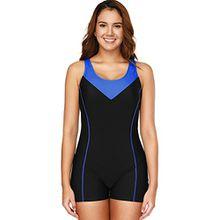 CharmLeaks Damen Einteiler Sport Badeanzug mit Bein Hotpants Kontrast Rückenfrei Bademode Sport Swimsuit Schwarz L