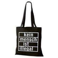 Baumwolltasche Jutebeutel Kein Mensch ist illegal Stoffbeutel NEU, Größe:38x42cm;Baumwolltasche:schwarz