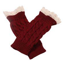 Bluelans® Armstulpen Pulswärmer lang fingerlos Handschuhe Damenhandschuhe Winterhandschuhe Fäustlinge Fausthandschuhe (Weinrot)