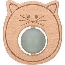 Greifling und Beißring mit Silikonkugel, 2 in 1, Holz/Silikon, Little Chums Cat grün