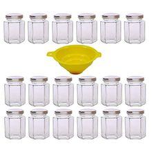 Viva Haushaltswaren 18 x kleines Einmachglas 110 ml mit silberfarbenem Deckel, sechseckige Glasdosen als Marmeladengläser, Gewürzdosen, Gastgeschenk etc. verwendbar (inkl. Trichter)