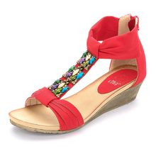 Alexis Leroy Böhmen Reißverschluss Damen Offene Sandalen mit Keilabsatz Rot 39 EU / 6 UK