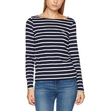 GANT Damen Pullover Breton Stripe Boatneck Sweater, Blau (Evening Blue), 10 (Herstellergröße: Small)