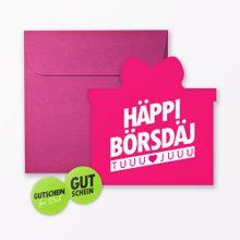 """TYPOP Geburtstagskarte \Häppi Börsdäj\"""" Pink in Geschenkform inkl. Umschlag + 2 Sticker"""""""