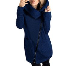 TWIFER Damen Winter Mantel Langarm Reißverschluss Baumwolle Sweatshirt Jacke S-5XL (2XL, Navy)