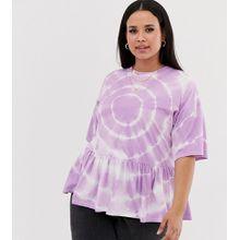 ASOS DESIGN Curve - Hängeroberteil mit Batikdesign - Violett