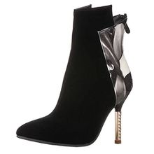 AIYOUMEI Damen Spitz Stiletto High Heels Stiefeletten mit 9cm Absatz und Reißverschluss Klassischer Stiefel