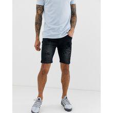 Soul Star - Schmale Jeans-Shorts im Used-Look - Schwarz