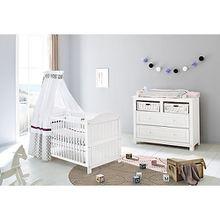 Sparset NINA, Kinderbett & breite Wickelkommode, Fichte massiv, Weiß lasiert weiß