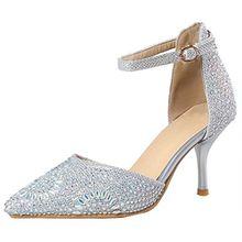 AIYOUMEI Stiletto High Heels Glitzer Pumps mit Strass und Schnalle Damen Hochzeit Schuhe