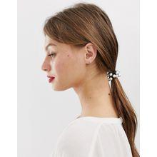DesignB London - Haarband mit Kunstperlendetail - Weiß