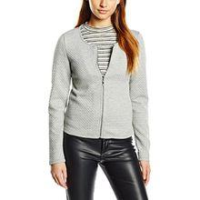 Vila CLOTHES Damen Blazer VINAJA NEW SHORT JACKET - NOOS, Gr. 36 (Herstellergröße: S), Grau (Light Grey Melange)