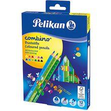 Dickkern-Buntstifte COMBINO, Dreiecksform, 12 Farben bunt