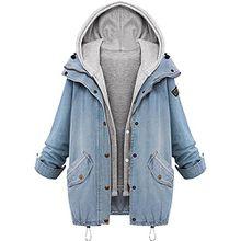 Damen Wintermantel Winterjacke Blazer Jeansjacke Parka Deinm Jeans Freizeitjacke Herbst Schick Langarmshirt Blau DE 42