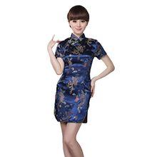 JTC Damen Frauen Partykleid Cheongsam Qipao Chipao Abendkleid Chinesisch Etuikleider, Mehrfarbig - Blau, 38—TagXL