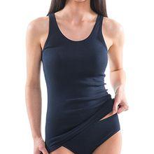 HERMKO 1310 Damen Unterhemd aus reiner Baumwolle in verschiedenen Farben, Farbe:marine, Größe:36/38 (S)