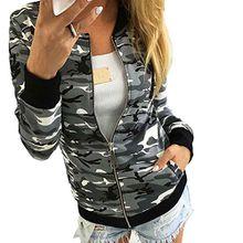 Minetom Damen Reißverschluss Camouflage Jacken Mantel Herbst Winter Straße Kurze Jacke Outwear Women Casual Jackets Grau DE 42