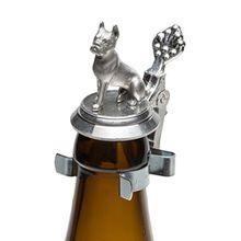 Schnabel-Schmuck Hund Bierflaschen Zinndeckel mit Zinnfigur